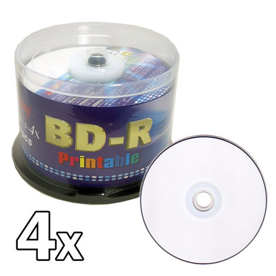 Melody 50 pcs BD-R Blu-ray Recordable White Inkjet Printable Blank Disc, 25GB, 1-4x