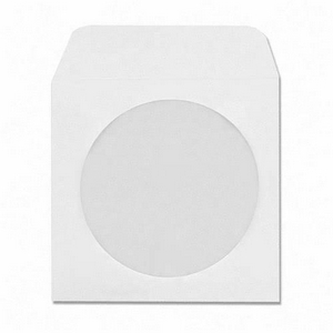 100 Pack White Paper CD DVD Blu-ray Disc Sleeve Envelope with Window and Flap, 90g standard weight.