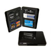 Black Digital Memory Plastic Card Hard Case, load 4 SD Card (MIRCRO SD Card), 1 CF Card & 2 Secure Digital & Memory Stick Pro